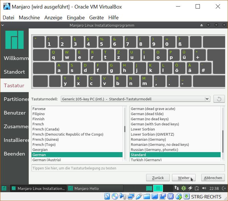 Tastatureinstellungen im Installer