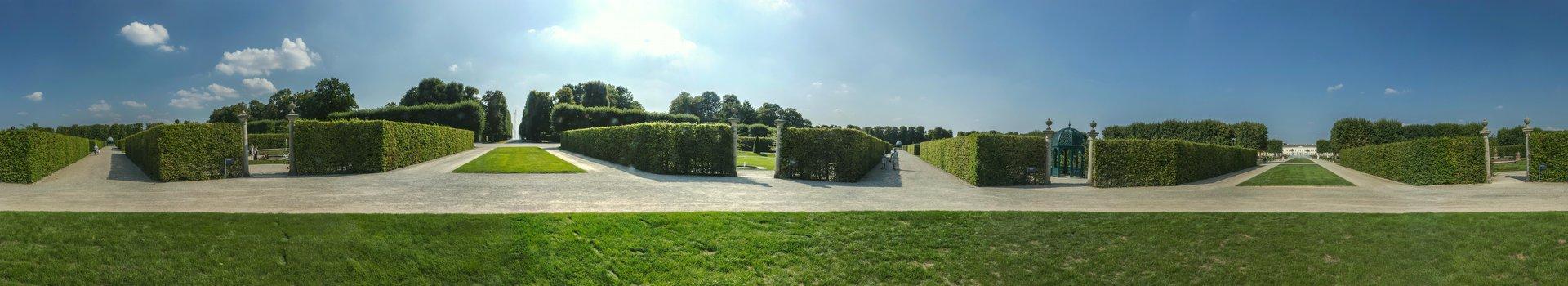 360° Panorama zwischen den vier mittleren Themengärten im Großen Garten