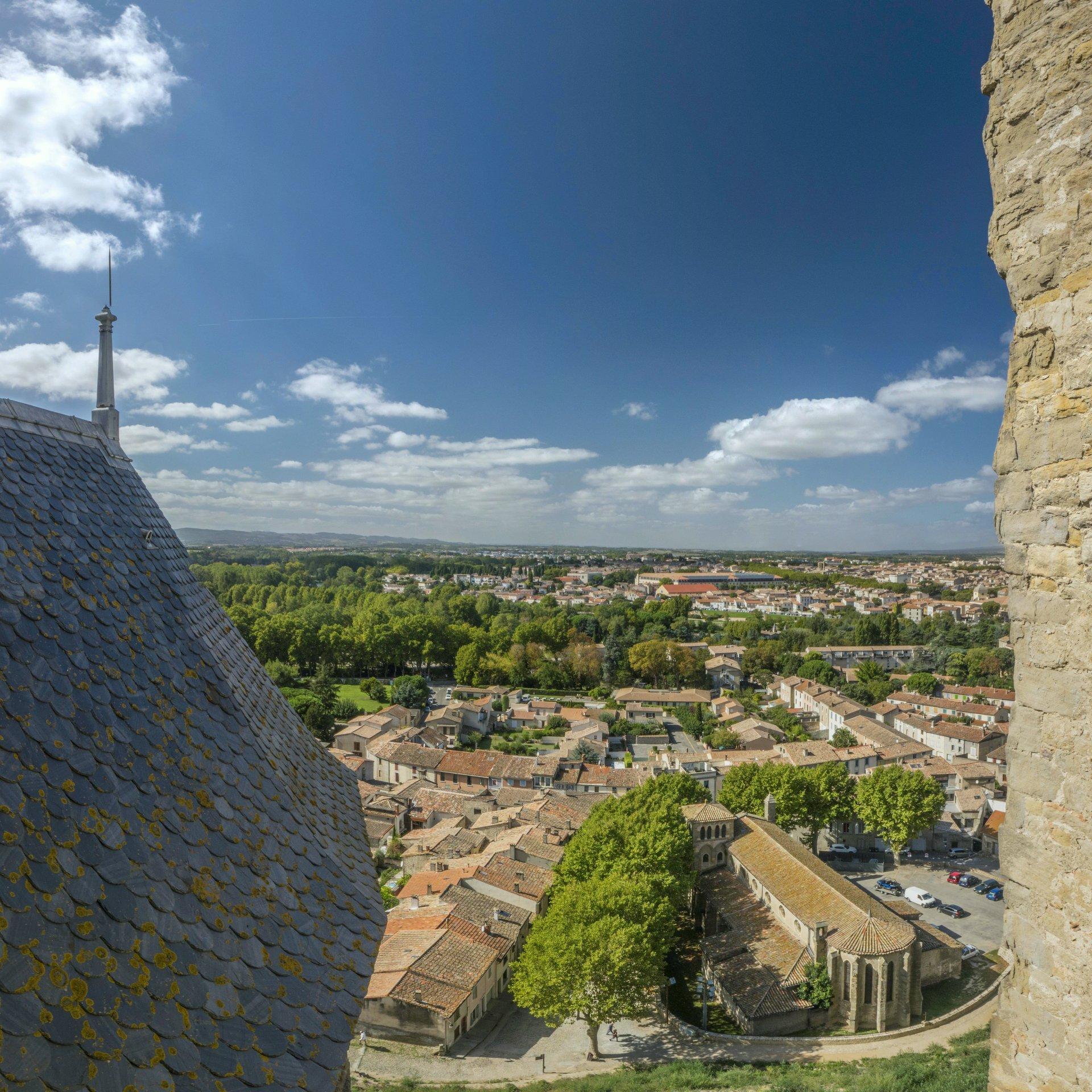 Blick nach Westen vom Château Comtal in der Cité Carcassonne
