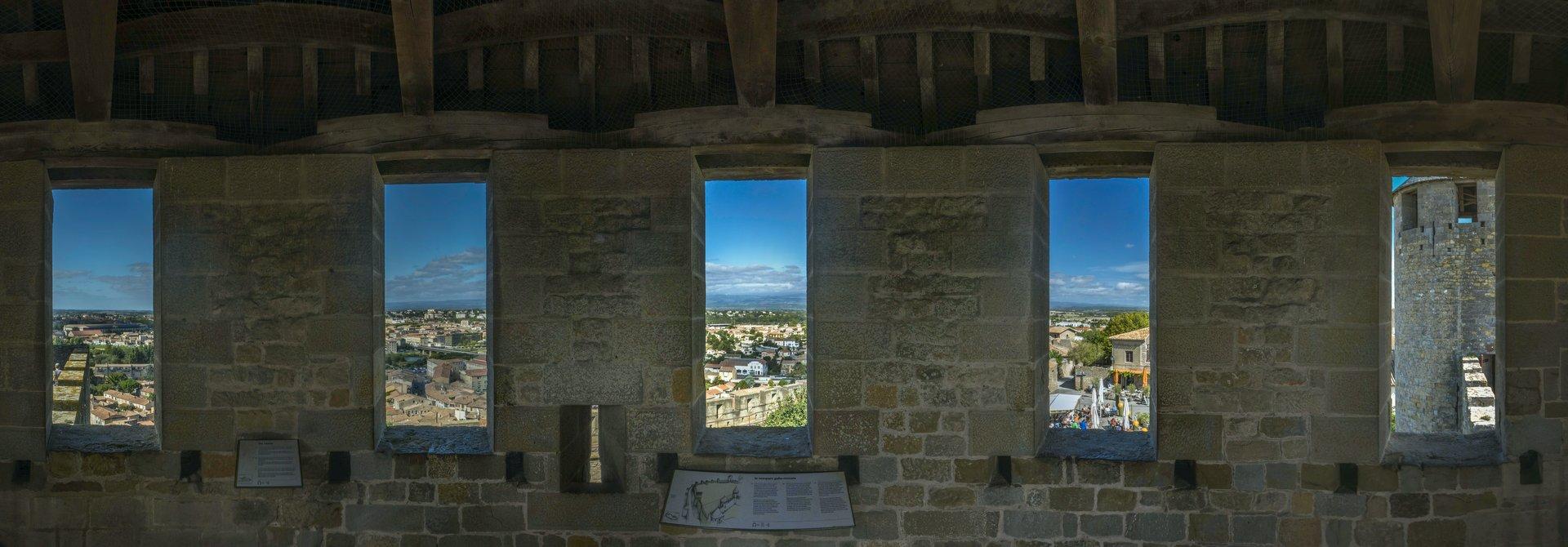 Blick aus dem Tour du Degré des Château Comtal in der Cité Carcassonne