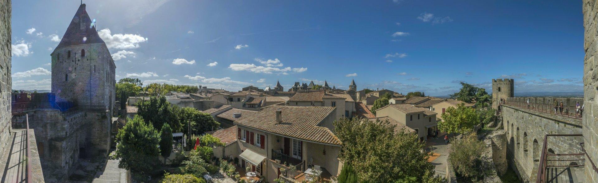 Panorama vom Tour de Tréseau auf die Cité Carcassonne