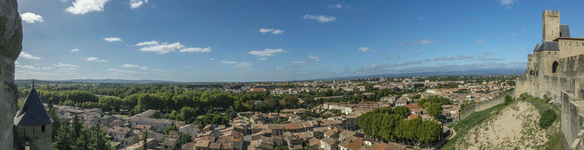 Westliches Panorama von der westlichen inneren Stadtmauer der Cité Carcassonne