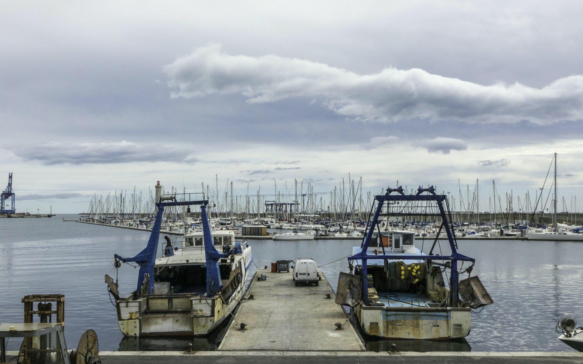 Boote am Quai de la Consigne in Sète
