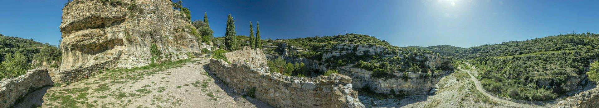360° Panorama vom südwestlichen Aussichtspunkt in Minerve