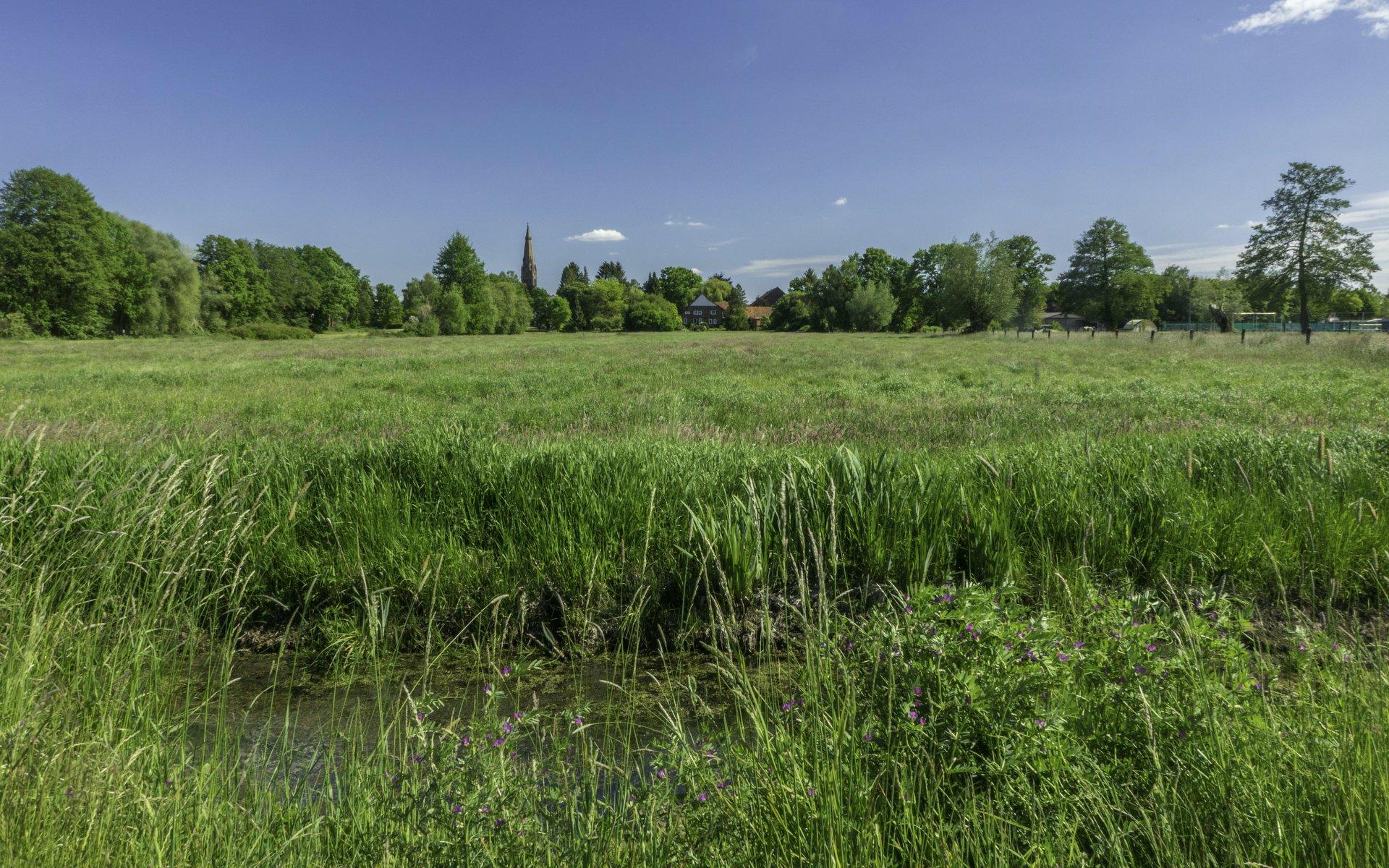 Blick vom Mastendamm auf Hagenburg