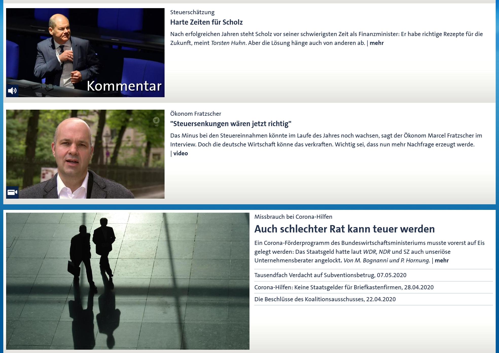 www.tagesschau.de am 14.5.2020 um 21:26